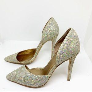 GUC - Badgley Mischka - Silver Sparkly Heels - 5.5